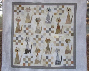 Scrappy Cat Quilt Pattern - For cat lovers everywhere.- This is the PDF version.
