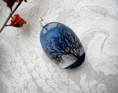 Tree of Life Necklace - Blue  - Dichroic Glass Pendant - Dichroic Glass Jewelry - Fused Glass Jewelry 2265
