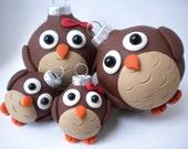 Set of FOUR Owl Family Christmas Ornaments
