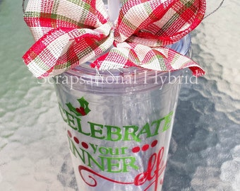 Customized, Tumbler, 16 oz, double walled, BPA free, Acrylic, Personalized, Christmas,Friend, Family, Co-worker
