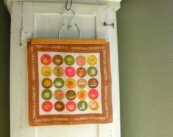 Vintage Hankie Vitamins Calories Handkerchief Carol Stanley