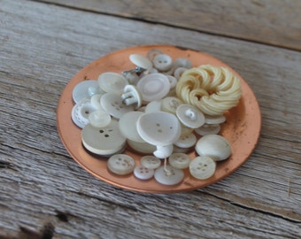 Assortment of White Vintage Buttons, No. 1
