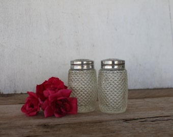 Vintage Grace Diamond Cut Glass Salt & Pepper Shakers