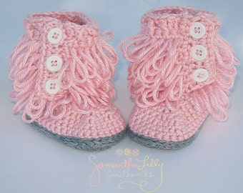 Booties, Furry Booties, Loopy Boots, Fringe Booties, Crochet loopy boots, crochet furry boots, baby girl boots, girl boots, ugg boot