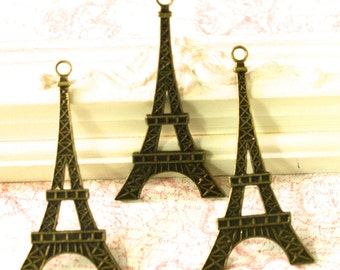 3 Piece Eiffel Tower Pendant or Charm
