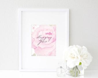 Amazing Grace |  Watercolor Print | Christian Hymn Artwork