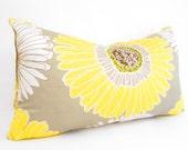 Mustard yellow pillow cover, floral throw pillow, yellow,gray,gold accent pillow, lumbar pillow cover, yellow bolster pillow, bohemian decor