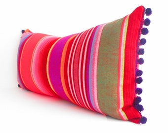 Red Long bolster pillow cover Tribal Aztec Mexican Throw Boho chic Lumbar Cushion Purple red black green white with purple pom pom trim
