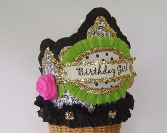 Birthday party crown, birthday party hat, girl birthday hat, adult birthday hat, customize