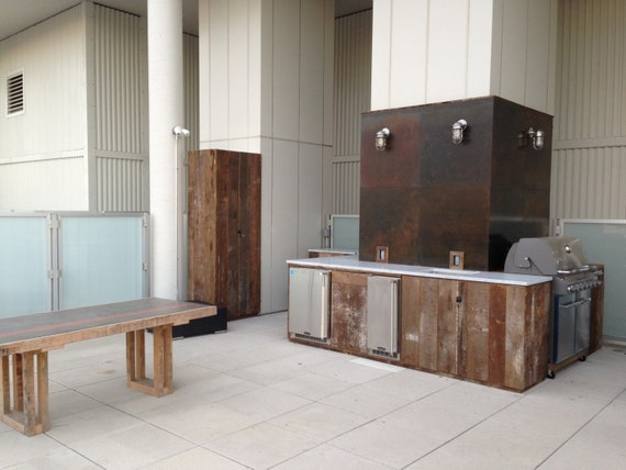 Custom Outdoor Kitchen With Reclaimed Wood Cabinets Carrara