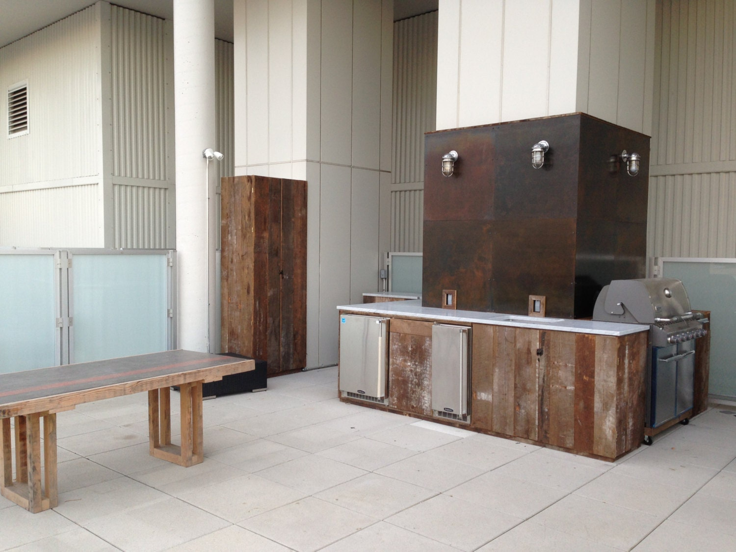 Reclaimed Wood Kitchen Cabinets Custom Outdoor Kitchen With Reclaimed Wood Cabinets Carrara