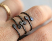3 Stacking Bud Inital Ring Set Adjustable Recycled Sterling Silver Two Initial Organic Flower Bud Ring by Pale Fish  NY