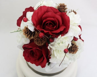 Winter Inspired Wedding Cake Topper - Red Rose, White Hydrangea, Silk Flower Cake Topper, Wedding Cake Flowers, Winter Wedding Cake Topper