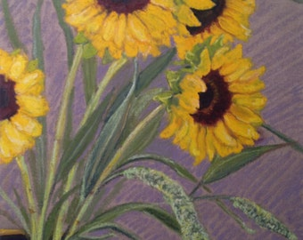 Original oil pastel Sunflowers