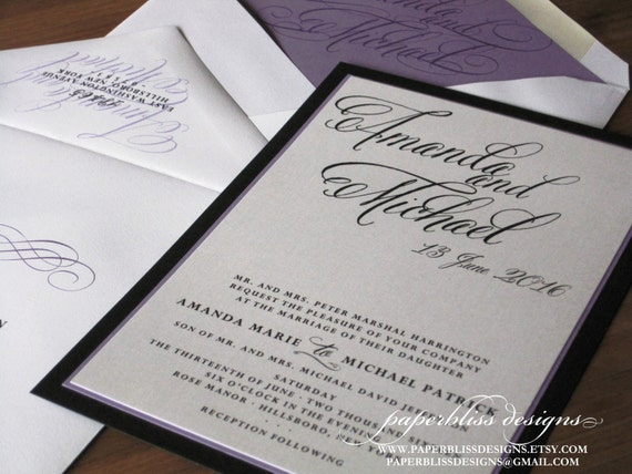 Modern Calligraphy Wedding Invitations : Modern Calligraphy Wedding Invitation sample set - Purple, Black and ...