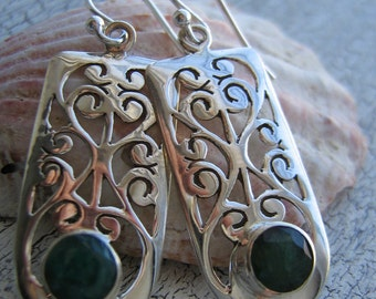 Sterling Silver Filigrees And Indian Emerald Earrings