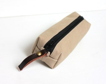 Men's Toiletry Bag, Cappuccino Brown Cotton Canvas Dopp Kit, Travel Shaving Kit Bag, Cosmetic. Pouch,  Pencil Case, Gift for Him