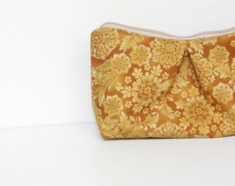 SALE - Honey Gold Cosmetic Make Up Bag, Yellow Ochre, Travel Make Up Pouch, Cosmetic Case, Zipper Purse