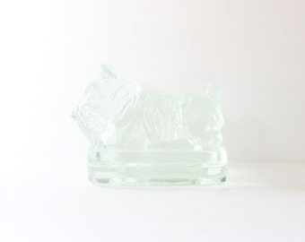 Vintage Scottie Dog Set of Two Bookend Figurines - Clear Glass - heavy thick, block, Corning