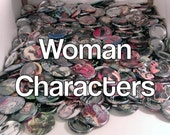 "5 Mixed 1.5"" Comic Book Buttons// Woman Characters"