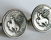 2007 Wyoming State Quarter Cufflinks by Custom Coin Rings----Jewelry cuff links handmade