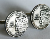 2000 New Hampshire State Quarter Cufflinks by Custom Coin Rings----Jewelry cuff links