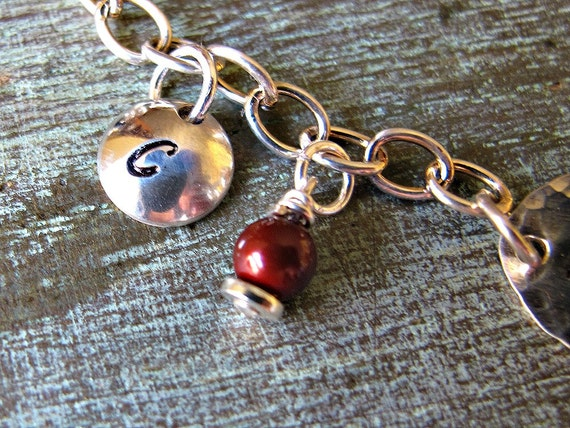 Sterling silver charm and pearl birthstone for Hand Stamped Initial Charm Bracelet