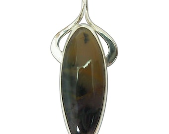 Amethyst Sage Agate and Sterling Silver Pendant, pamsf2342