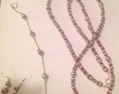 Long Necklace In Lavender Beads with Matching Bracelet and Earrings ... 3 piece Jewelry Set