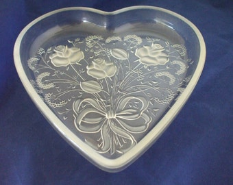 Glass Heart, Frosted Roses, Bows Dish - Misasa Crystal - Home Decor - Gifts - Wedding - Jewelry  #116