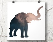 elephant silhouette in dusty rose blue, digital silhouette art, 8x8 print, cloud photography, minimal animal art, elephant nursery decor sky