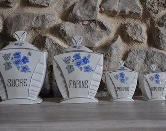 Art Deco Period French Country Ceramic Kitchen Canisters - Set of 4
