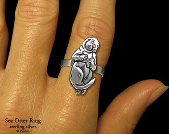Sea Otter Ring Sterling Silver