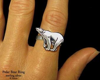 Polar Bear Ring Sterling Silver