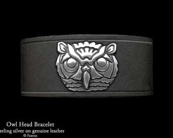 Owl Head Leather Bracelet Sterling Silver Owl Head on Leather Bracelet