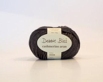 CHARCOAL- Debbie Bliss cashmerino Aran 50gr colo. no. 300028