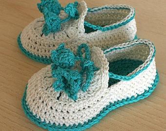 PDF file- CROCHET Pattern - Baby Shoes Summer Bells  ( 0-6 /6- 12 months)