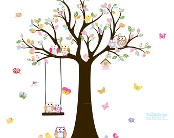 Nursery Tree Decal with Owls Birds Swing Butterflies,wall sticker,wall decal