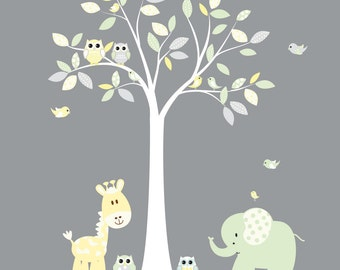 Baby Nursery Gender Neutral Jungle Vinyl Tree Wall Art