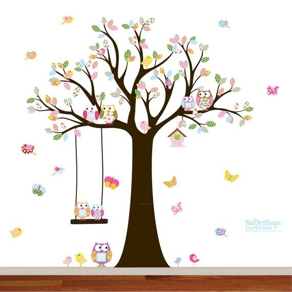 Nursery Tree Decal with Owls Birds Swing Butterflies,wall sticker,wall decal