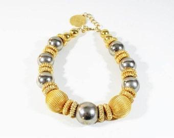 Bijoux Elfe Italian Necklace Gold Ball Choker Couture 1980s Jewelry