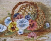 sweet vintage painting of a basket of pansies