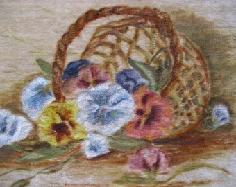 sweet vintage painting of a basket of pansies