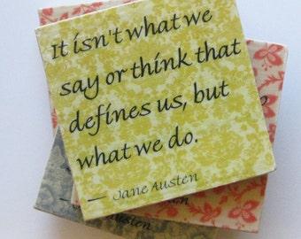 Coasters. Ceramic coasters. Jane Austen coasters. Jane Austen quotes. Coaster set. Jane Austen. Literary coasters.