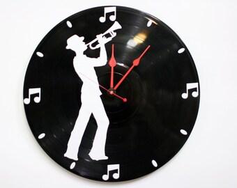 Trumpet Wall Clock on Vinyl Record Album