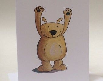 Bear Birthday Card, Bear Hugs Birthday Card from my watercolor, made on recycled paper comes with envelope and seal