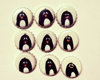 Penguin Magnets, Set of Three Penguin handpainted, upcycled bottle cap Super Strong  neodymium magnets