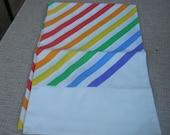 Vintage pillowcase, rainbow stripe