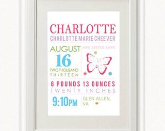 8 x 10 - Custom Birth Announcement Print - Mia Wall art