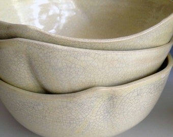 READY TO SHIP Set of six, Altered Soup/cereal bowl, stoneware bowls, cream crackle stoneware pottery by Leslie Freeman